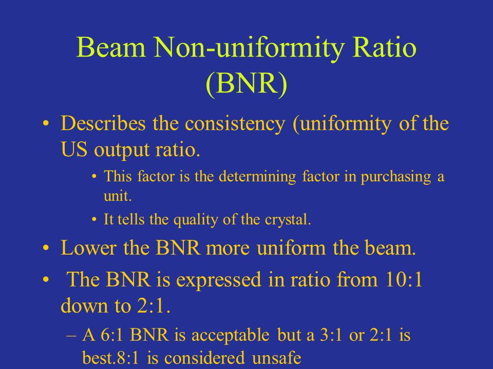 Beam Non-uniformity Ratio (BNR)