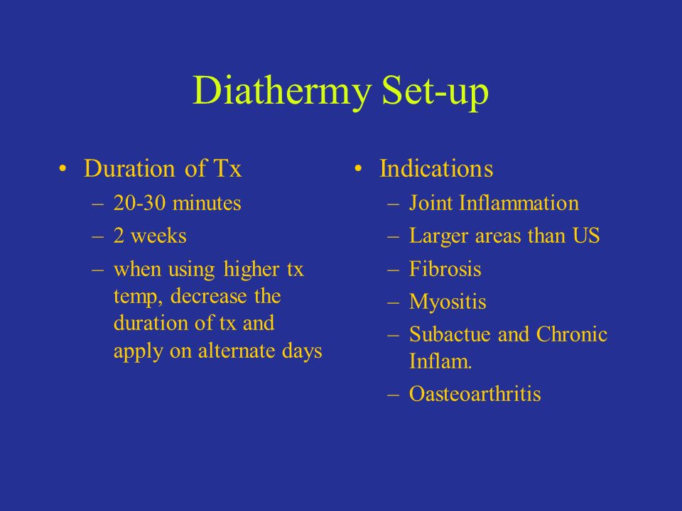 Diathermy Set-up Duration of Tx Indications 20-30 minutes 2 weeks