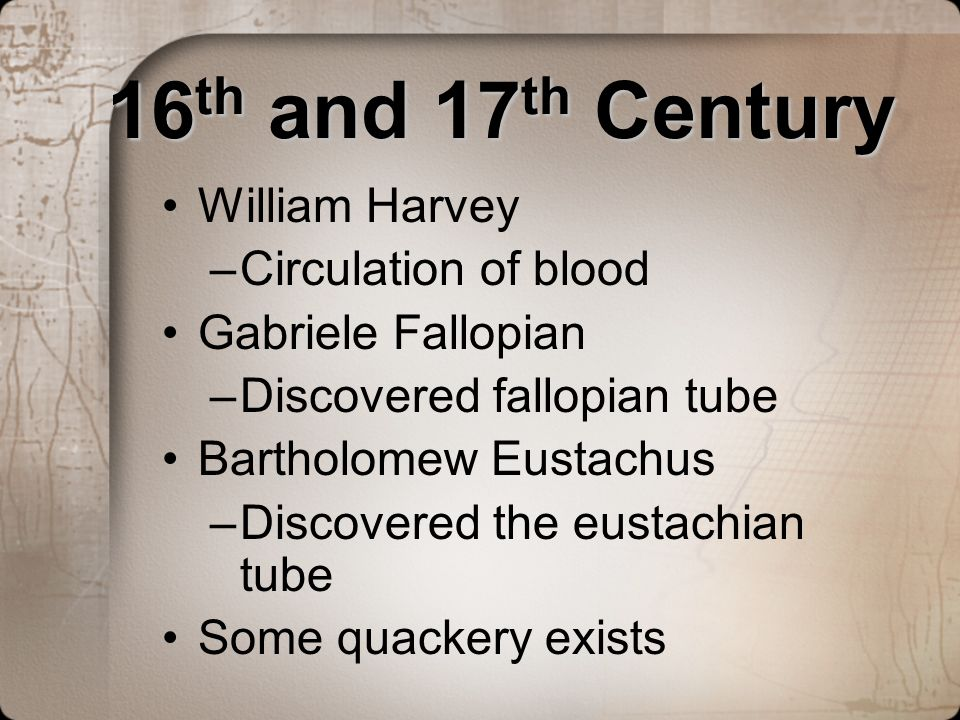 16th and 17th Century William Harvey Circulation of blood