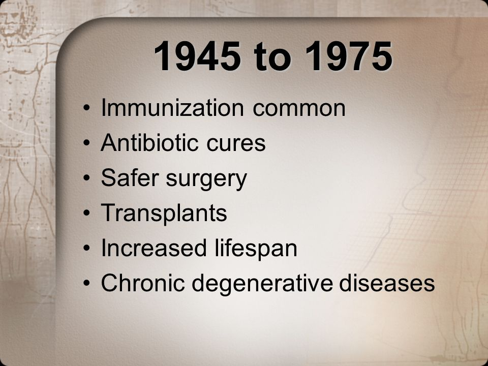 1945 to 1975 Immunization common Antibiotic cures Safer surgery