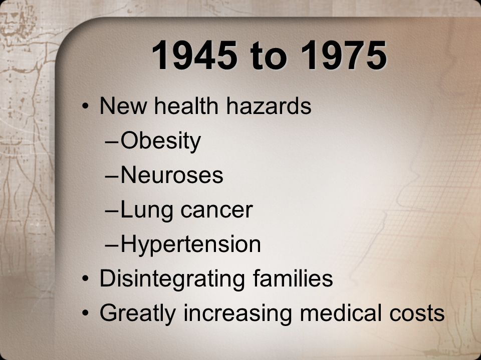 1945 to 1975 New health hazards Obesity Neuroses Lung cancer