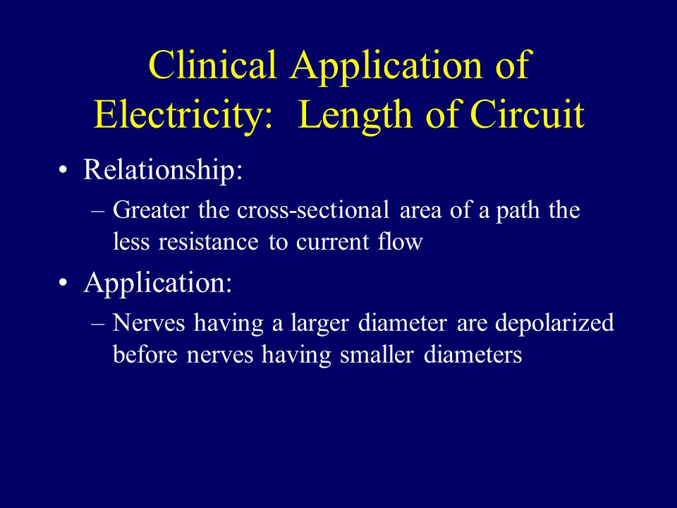 Clinical Application of Electricity: Length of Circuit