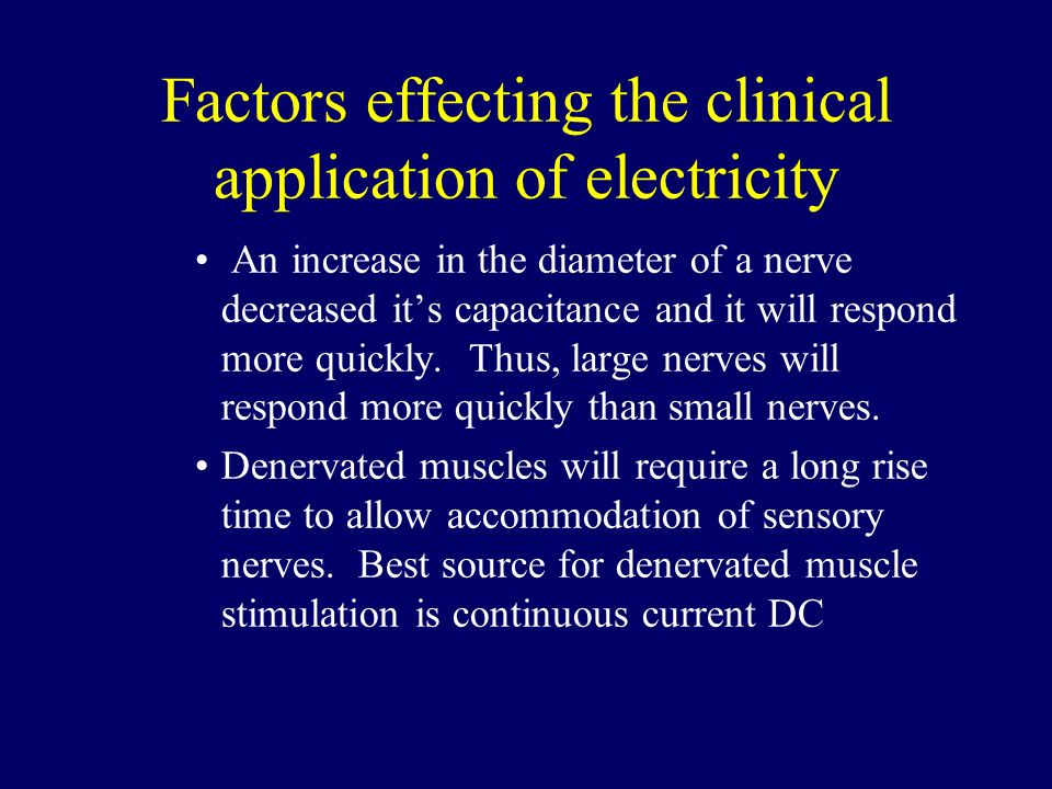 Factors effecting the clinical application of electricity
