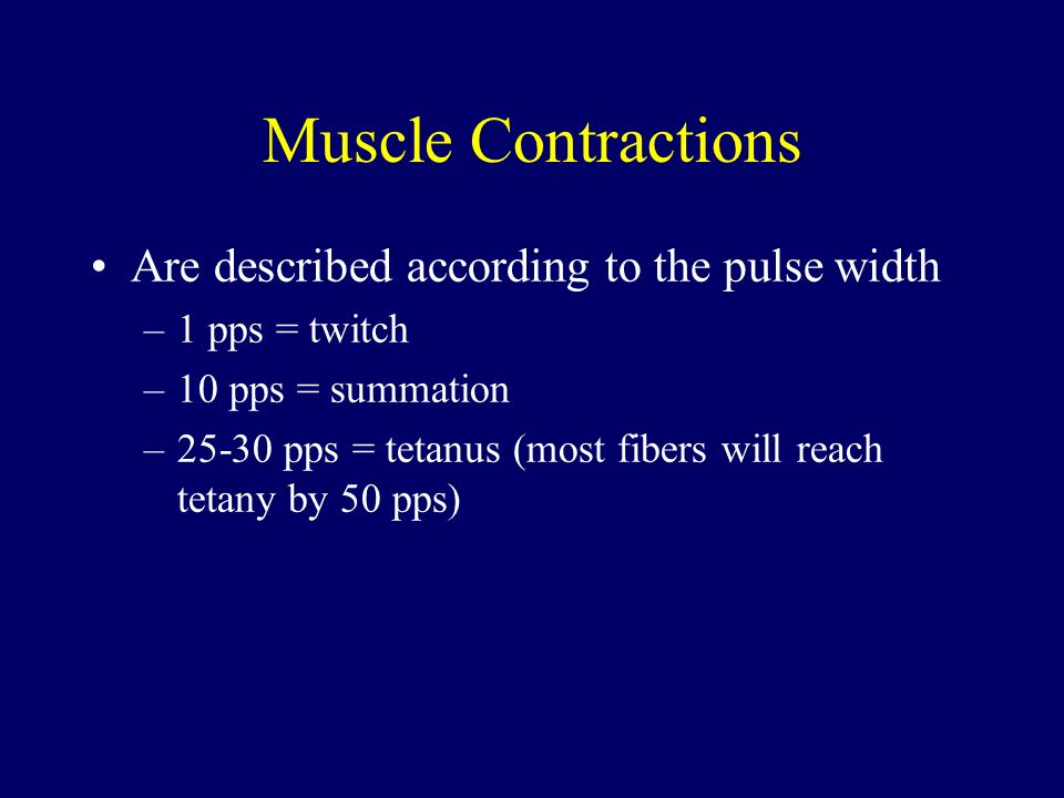 Muscle Contractions Are described according to the pulse width