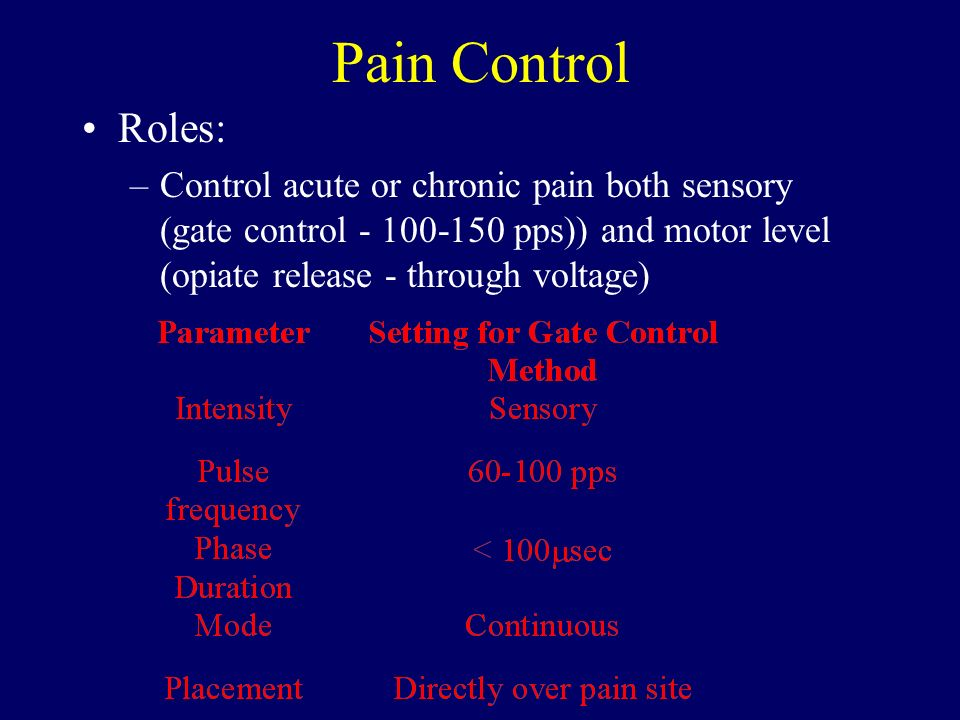 Pain Control Roles: Control acute or chronic pain both sensory (gate control - 100-150 pps)) and motor level (opiate release - through voltage)