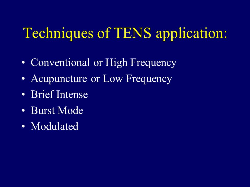 Techniques of TENS application: