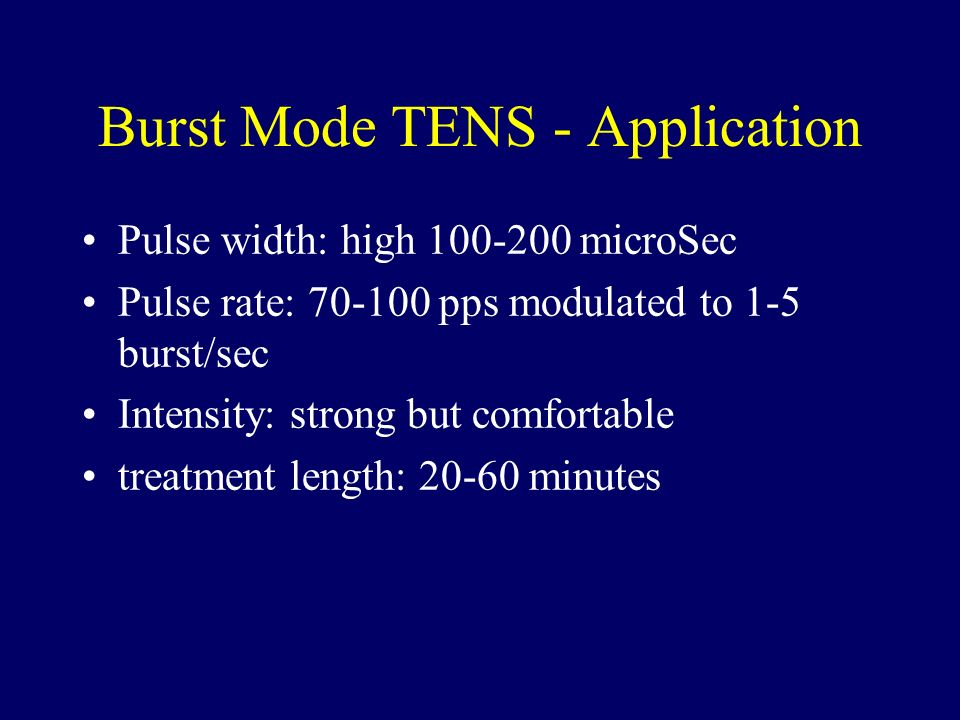 Burst Mode TENS - Application