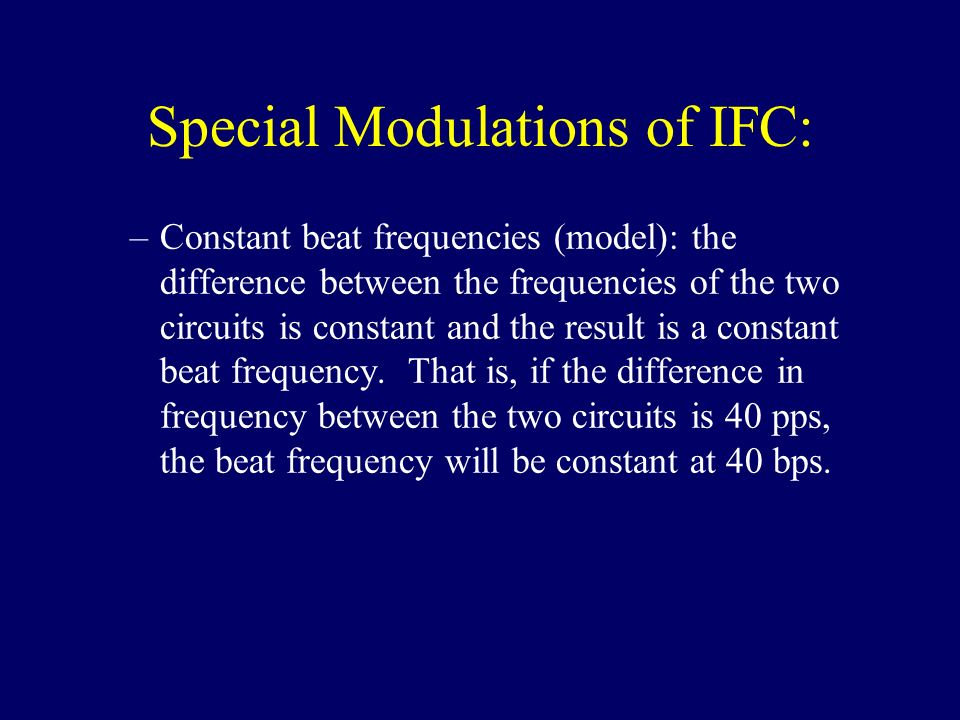 Special Modulations of IFC: