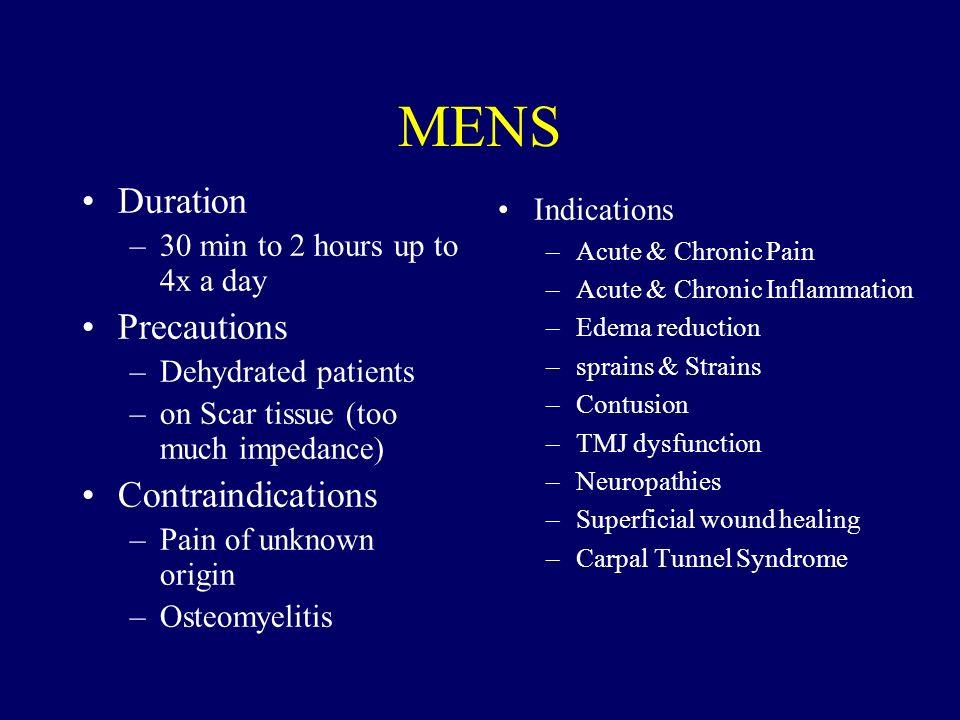 MENS Duration Precautions Contraindications Indications