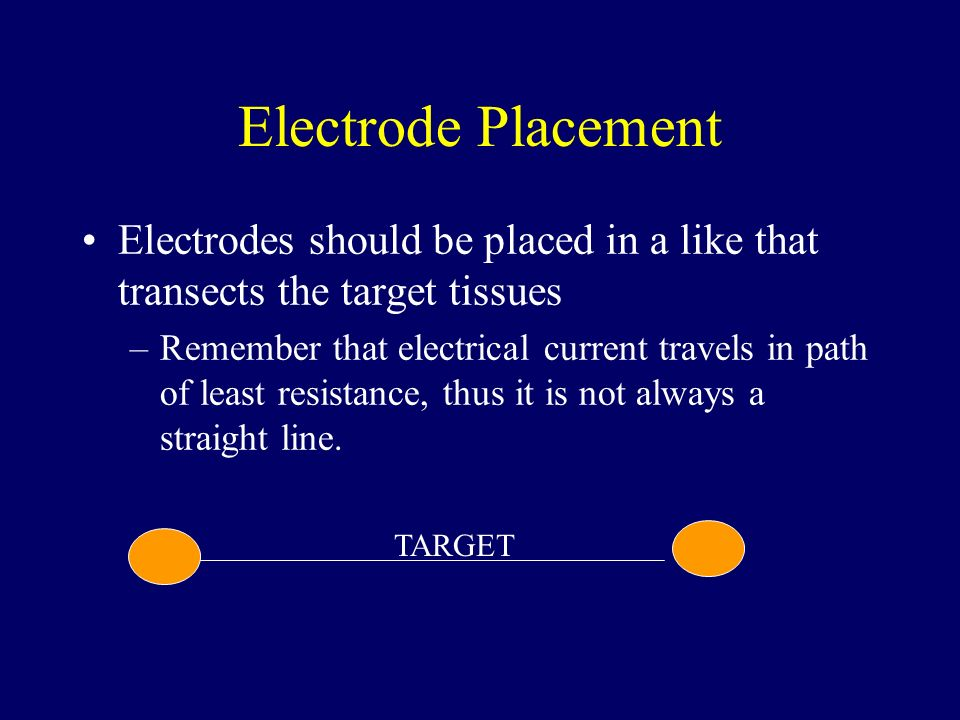 Electrode Placement Electrodes should be placed in a like that transects the target tissues.