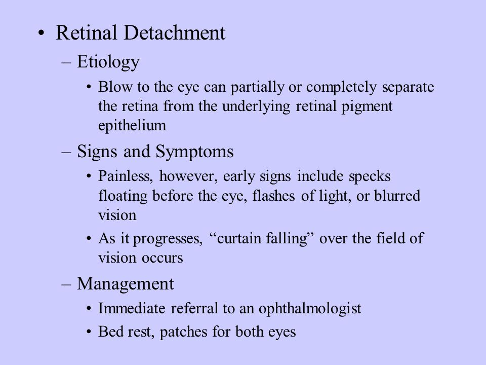 Retinal Detachment Etiology Signs and Symptoms Management