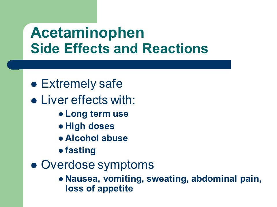 Acetaminophen Side Effects and Reactions