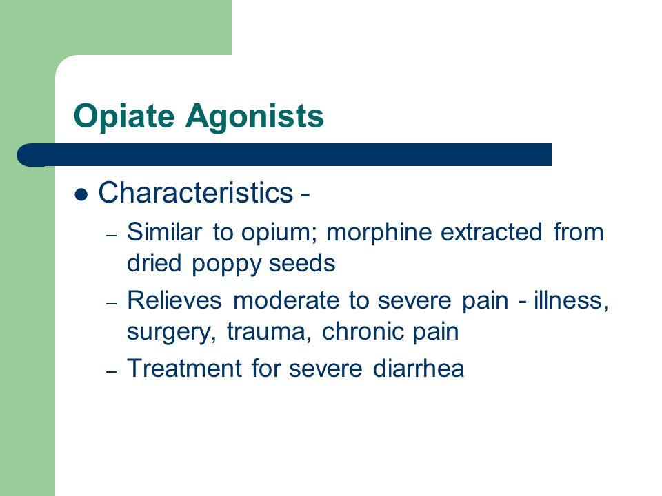 Opiate Agonists Characteristics -