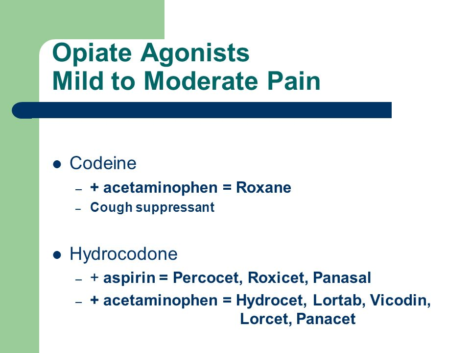 Opiate Agonists Mild to Moderate Pain