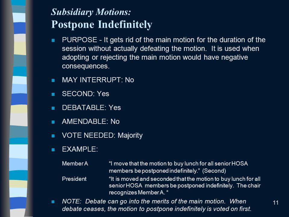 Subsidiary Motions: Postpone Indefinitely
