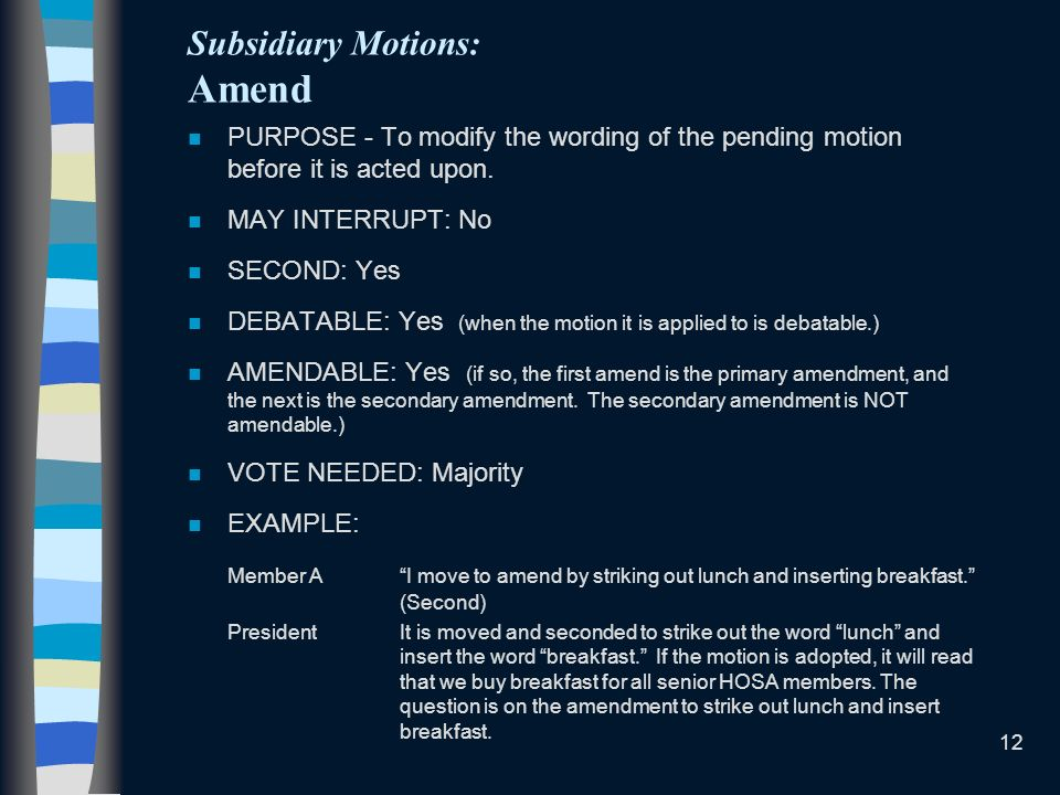 Subsidiary Motions: Amend