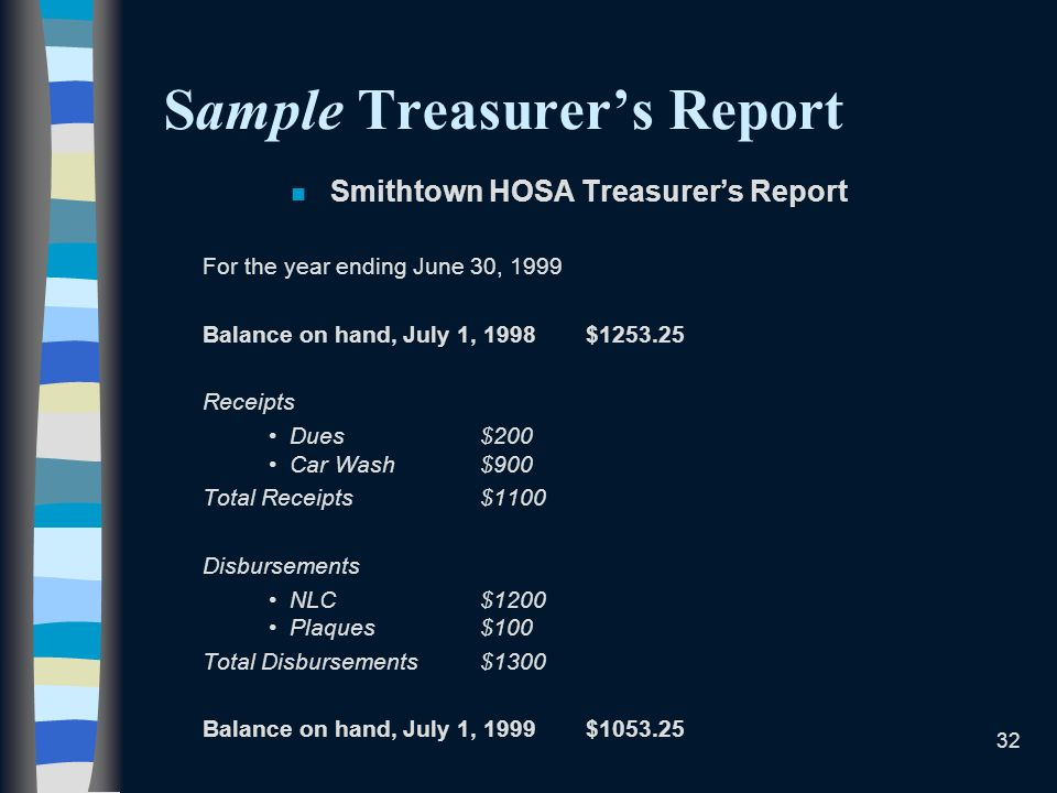 Sample Treasurer's Report