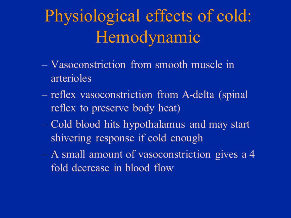 Physiological effects of cold: Hemodynamic