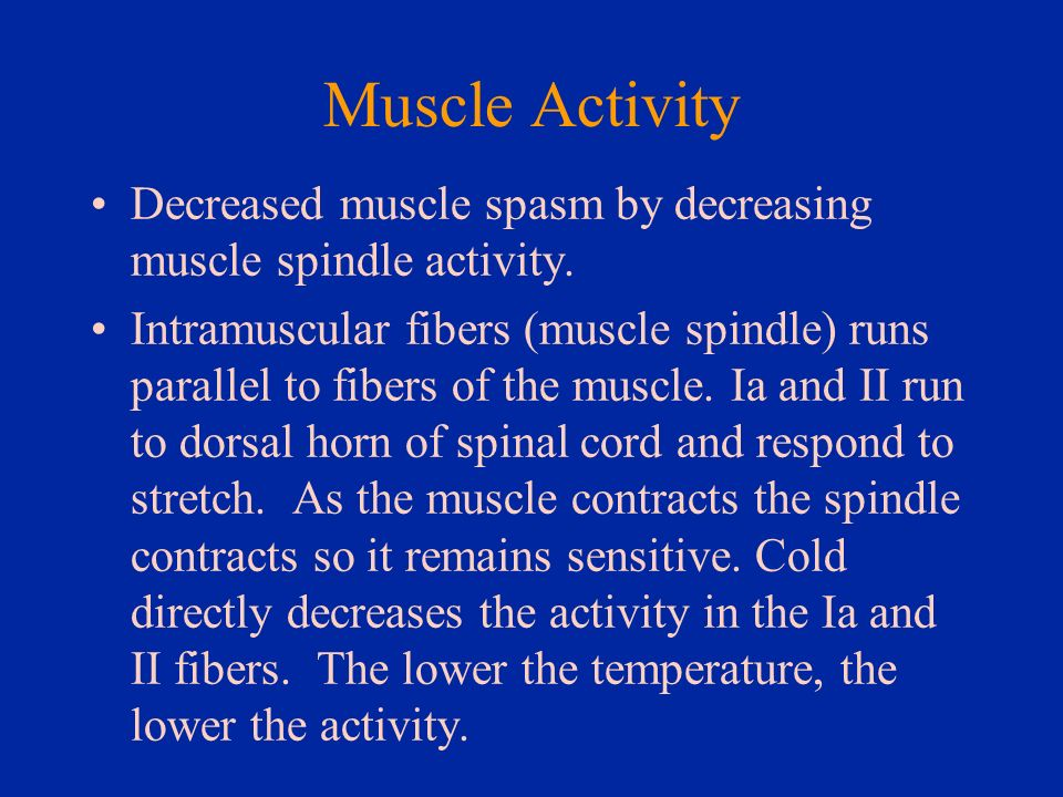 Muscle Activity Decreased muscle spasm by decreasing muscle spindle activity.
