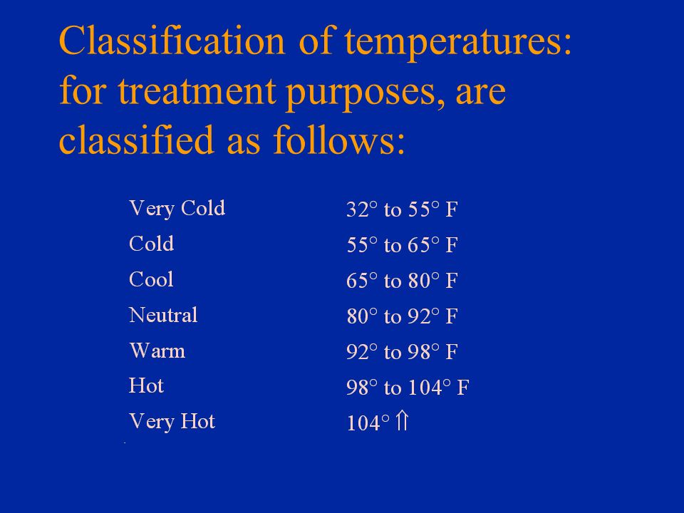 Classification of temperatures: for treatment purposes, are classified as follows: