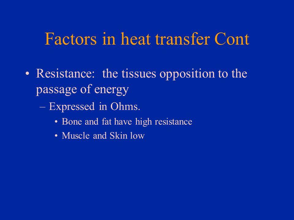 Factors in heat transfer Cont