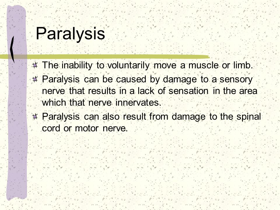Paralysis The inability to voluntarily move a muscle or limb.