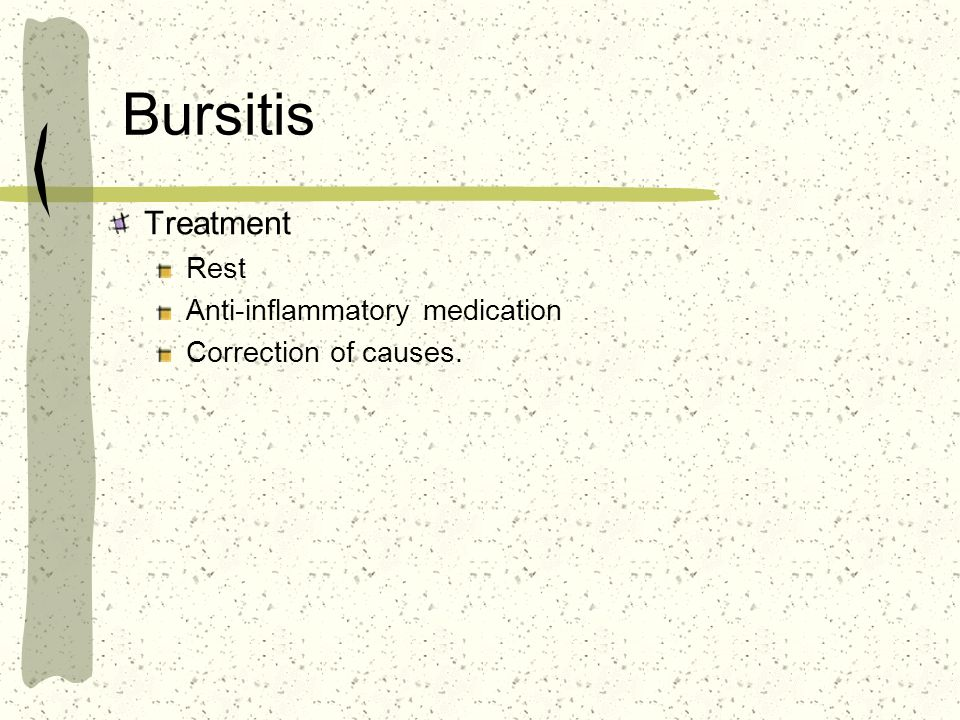 Bursitis Treatment Rest Anti-inflammatory medication