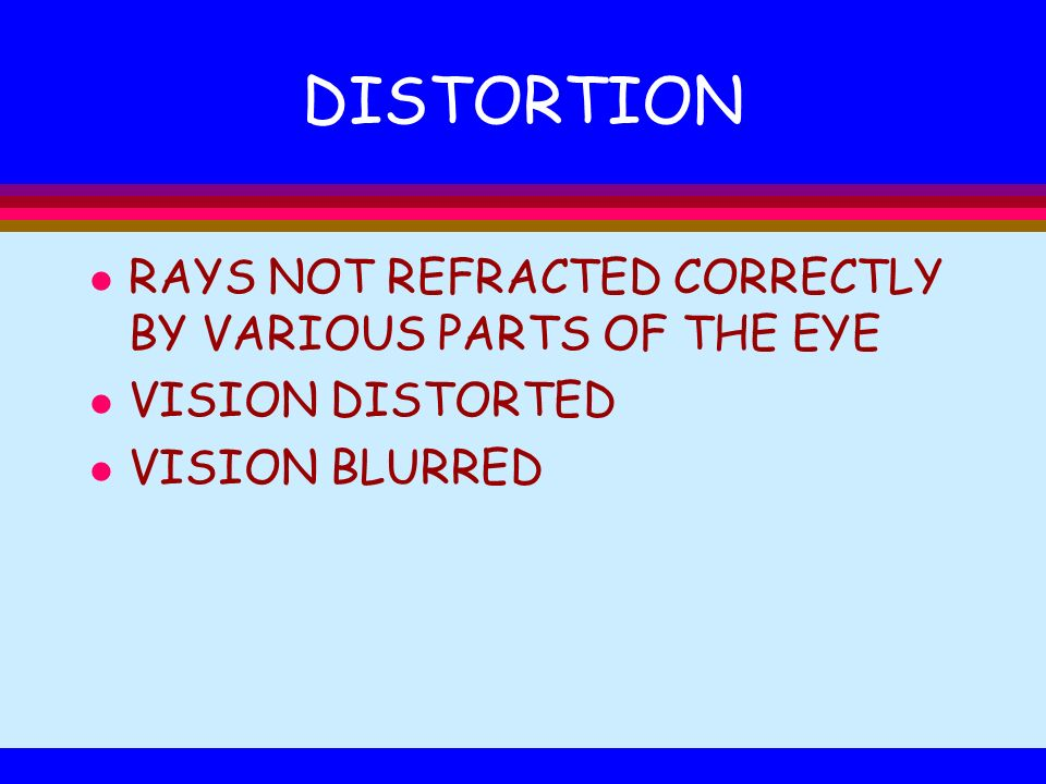 DISTORTION RAYS NOT REFRACTED CORRECTLY BY VARIOUS PARTS OF THE EYE