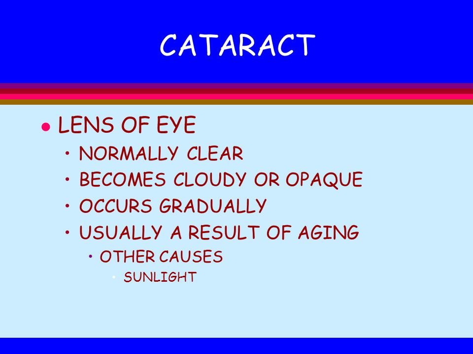 CATARACT LENS OF EYE NORMALLY CLEAR BECOMES CLOUDY OR OPAQUE