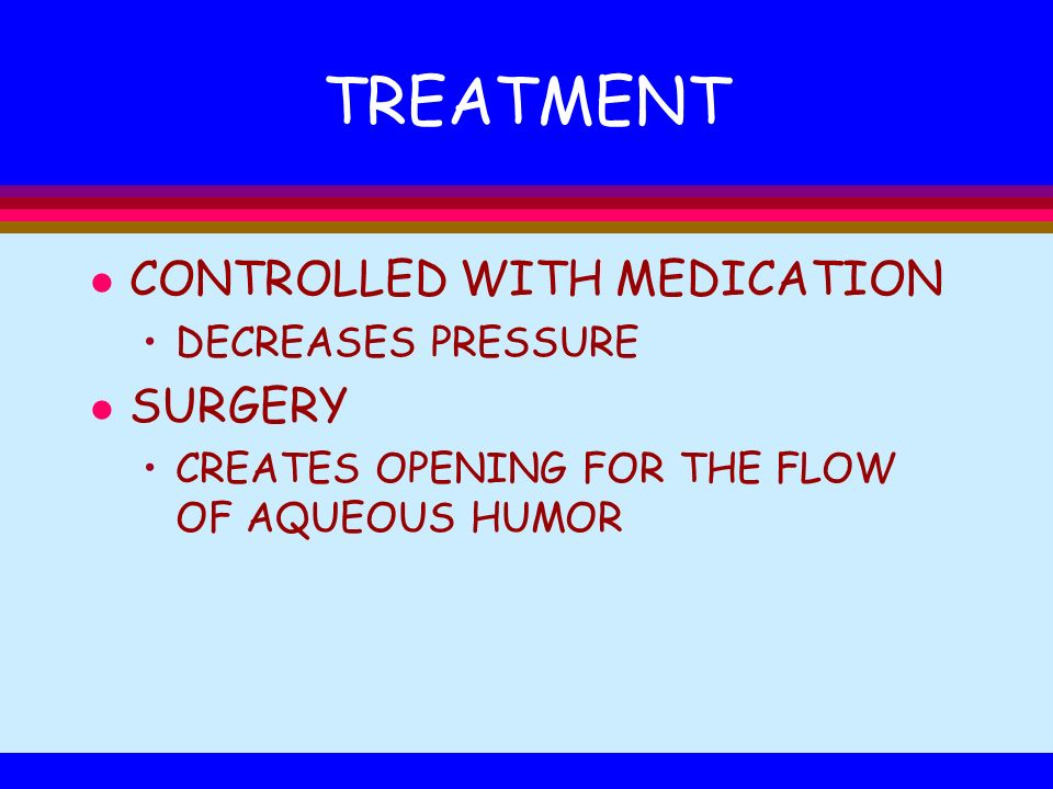 TREATMENT CONTROLLED WITH MEDICATION SURGERY DECREASES PRESSURE
