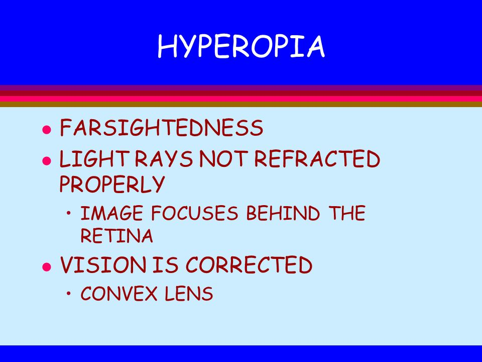HYPEROPIA FARSIGHTEDNESS LIGHT RAYS NOT REFRACTED PROPERLY
