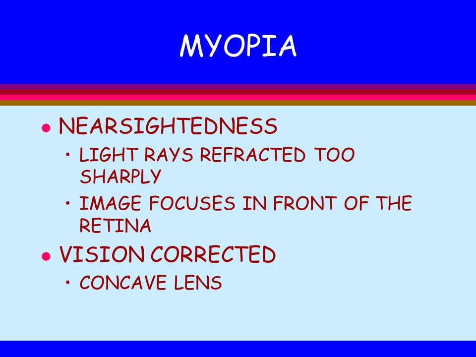 MYOPIA NEARSIGHTEDNESS VISION CORRECTED