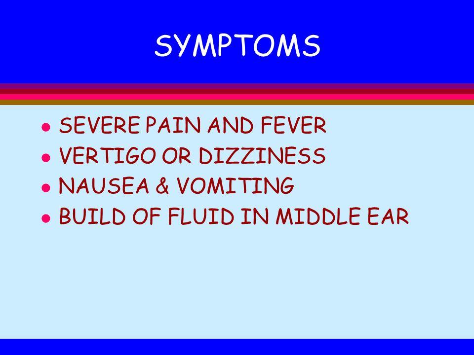 SYMPTOMS SEVERE PAIN AND FEVER VERTIGO OR DIZZINESS NAUSEA & VOMITING
