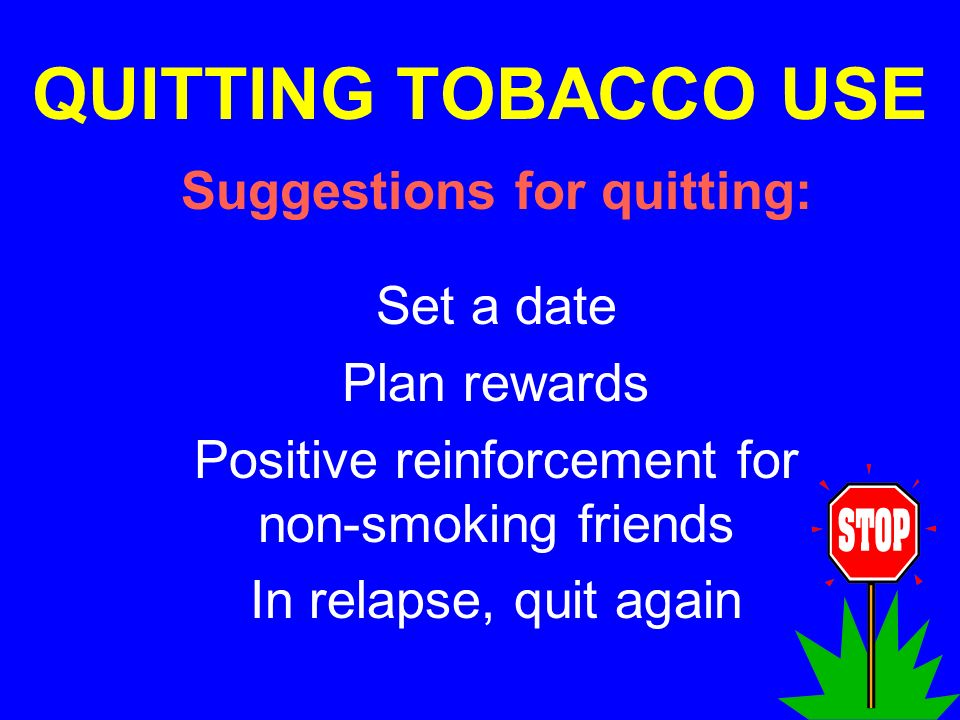 Suggestions for quitting: