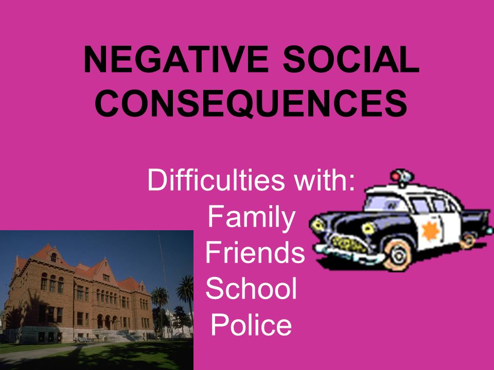 NEGATIVE SOCIAL CONSEQUENCES Difficulties with: Family Friends School Police