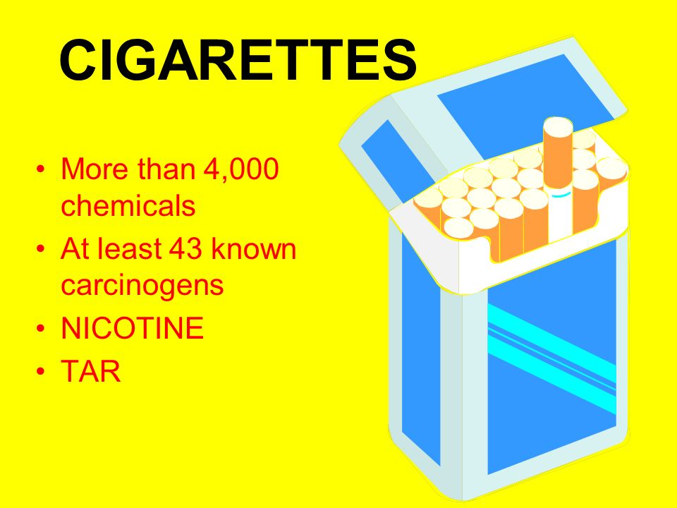 CIGARETTES More than 4,000 chemicals At least 43 known carcinogens