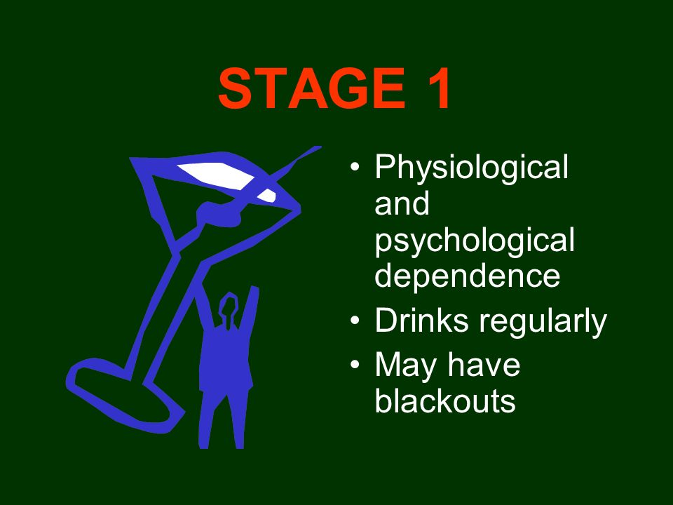 STAGE 1 Physiological and psychological dependence Drinks regularly
