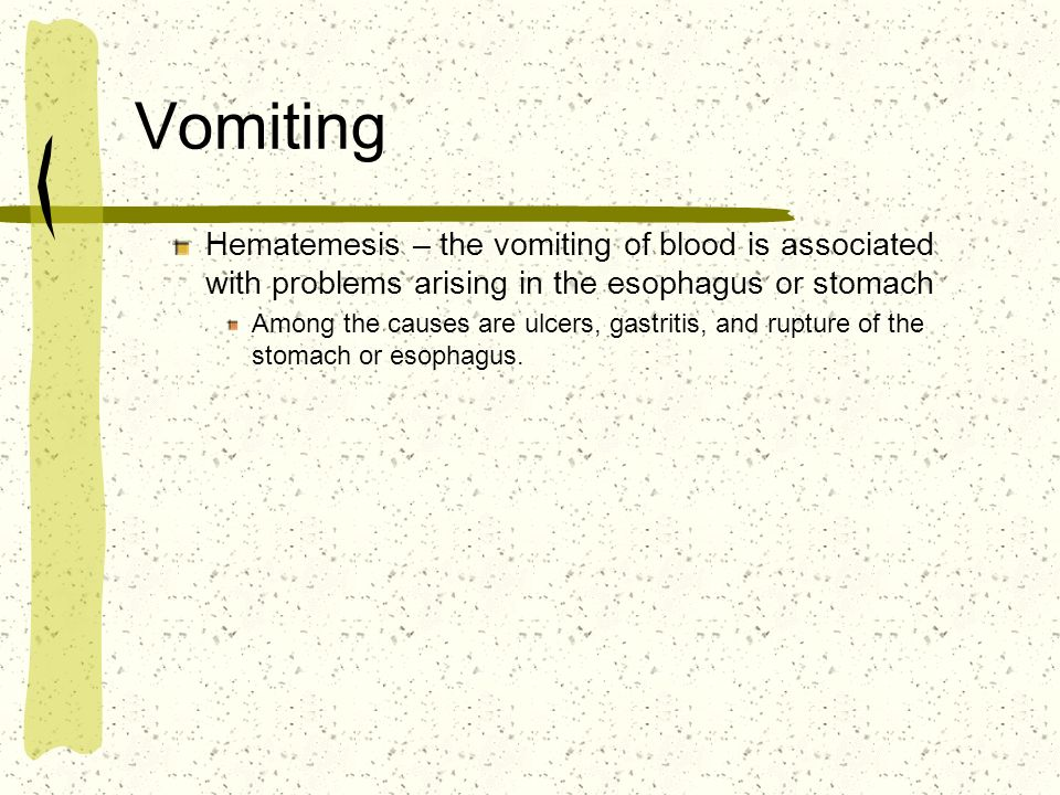 Vomiting Hematemesis – the vomiting of blood is associated with problems arising in the esophagus or stomach.