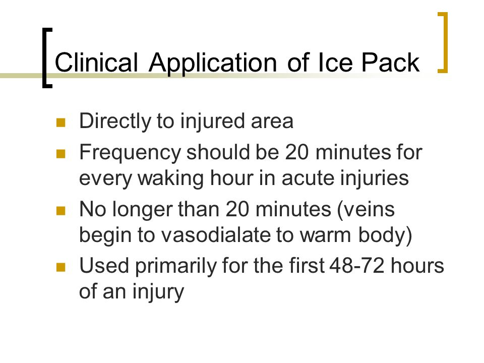 Clinical Application of Ice Pack