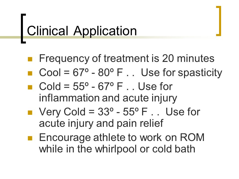 Clinical Application Frequency of treatment is 20 minutes
