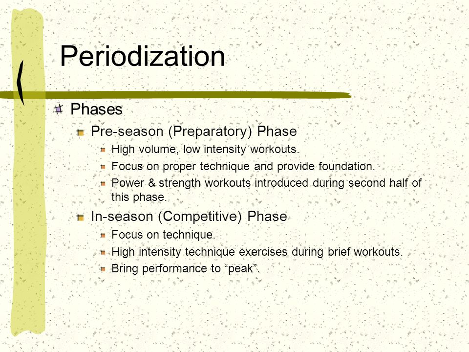 Periodization Phases Pre-season (Preparatory) Phase