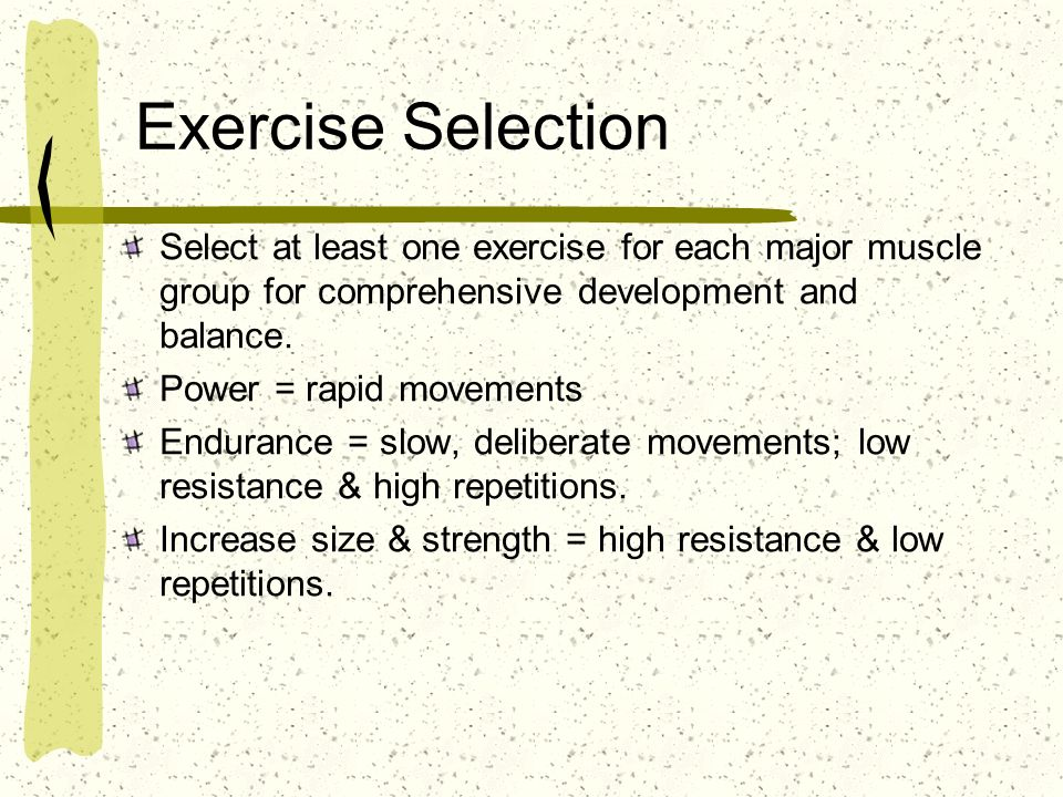 Exercise Selection Select at least one exercise for each major muscle group for comprehensive development and balance.