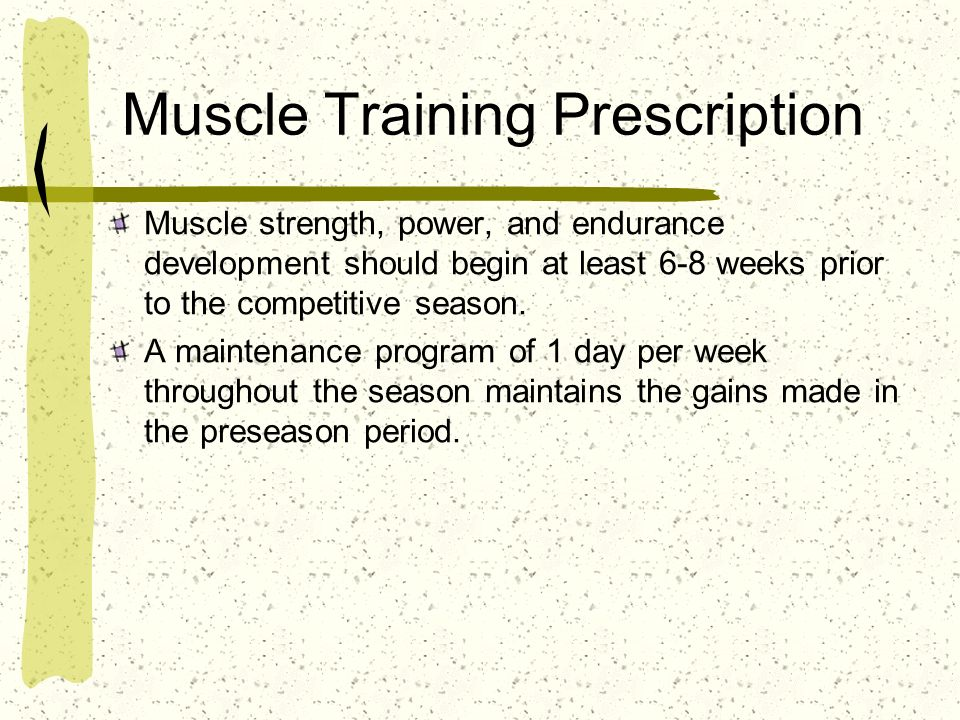 Muscle Training Prescription