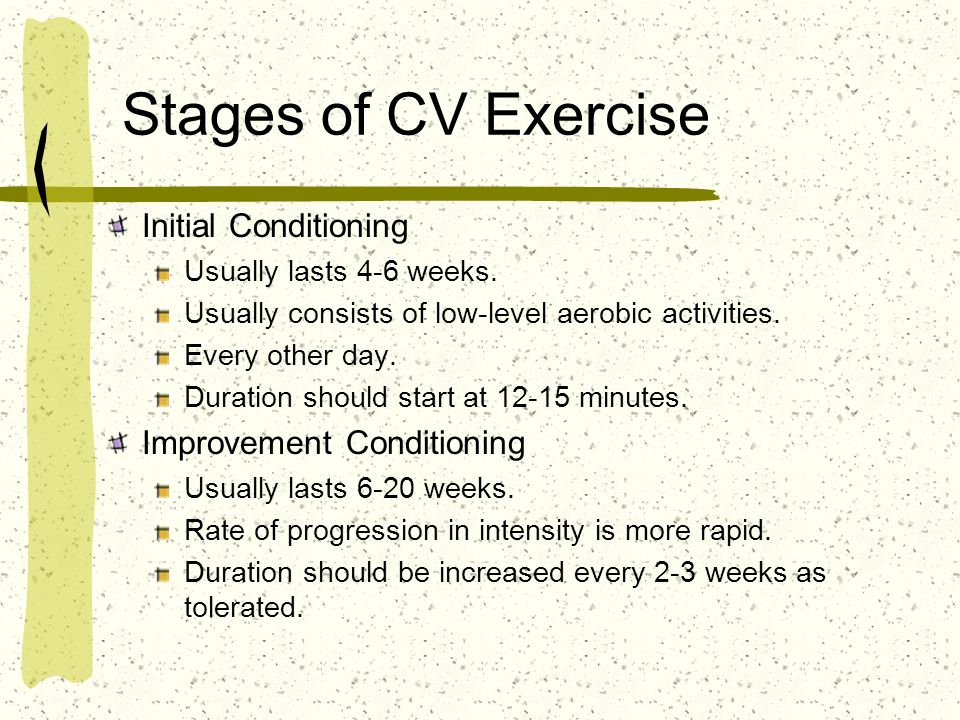 Stages of CV Exercise Initial Conditioning Improvement Conditioning