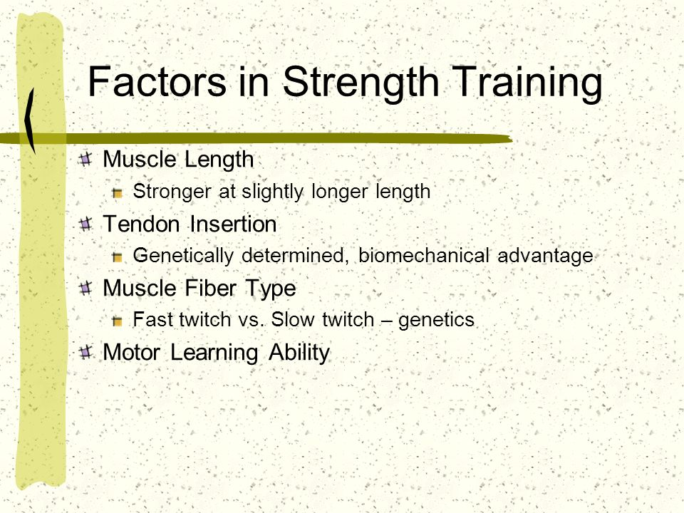 Factors in Strength Training