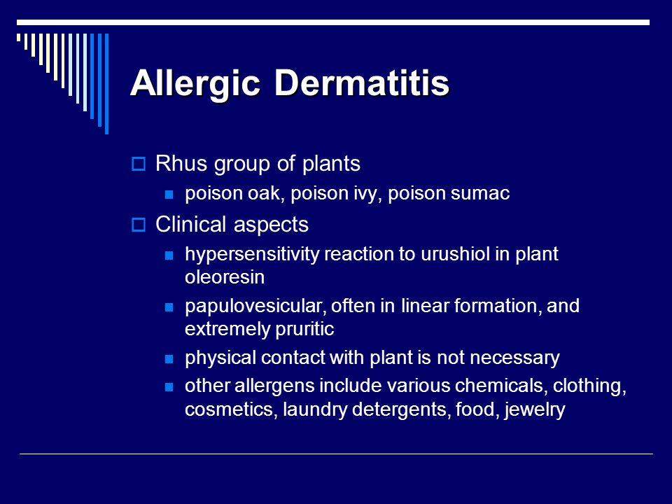 Allergic Dermatitis Rhus group of plants Clinical aspects