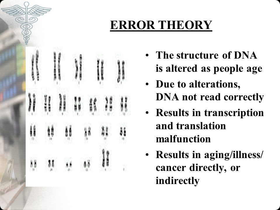 ERROR THEORY The structure of DNA is altered as people age