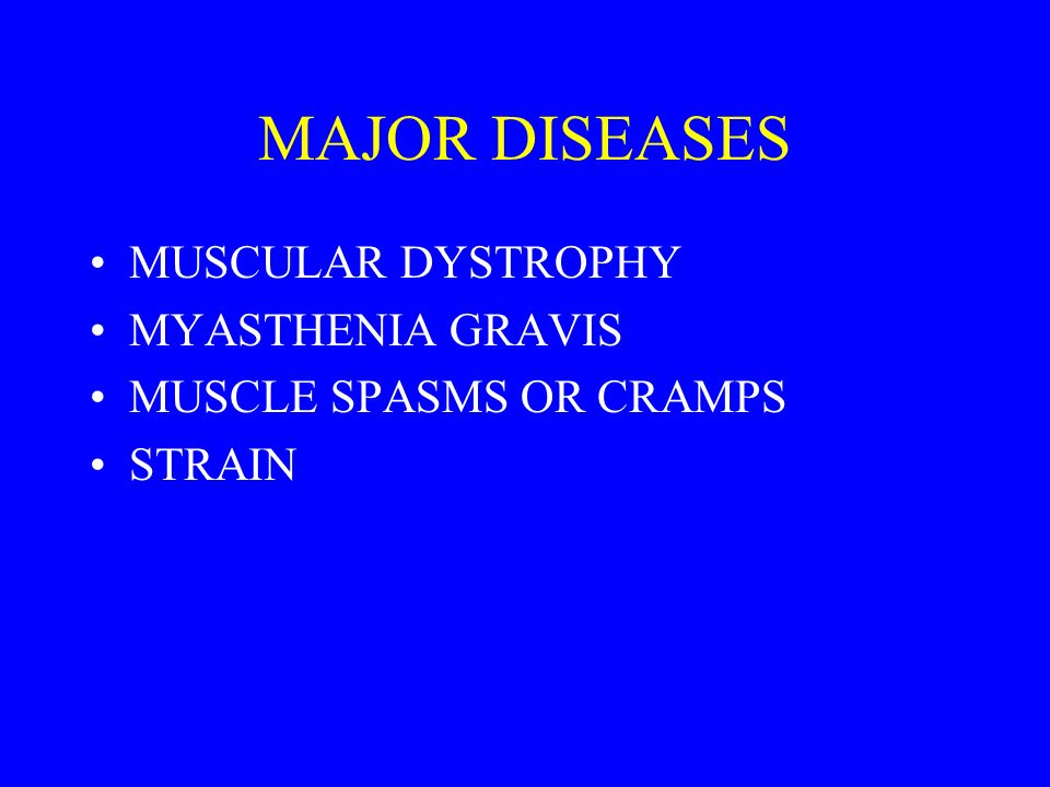 MAJOR DISEASES MUSCULAR DYSTROPHY MYASTHENIA GRAVIS