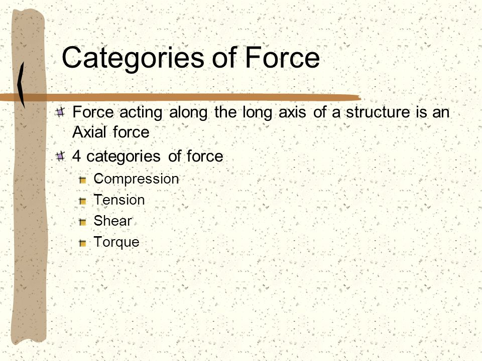 Categories of Force Force acting along the long axis of a structure is an Axial force. 4 categories of force.