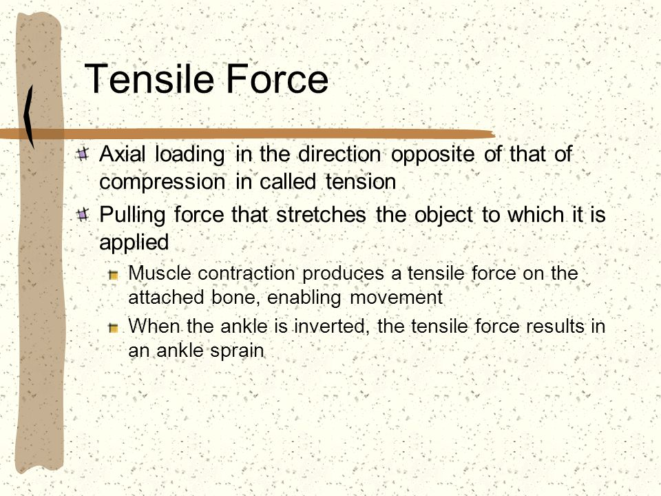 Tensile Force Axial loading in the direction opposite of that of compression in called tension.